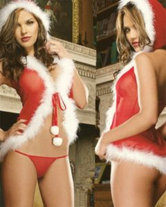 Escort Izmir girl is exposing her boobs and ass covered lightly with transparent red gown stylized for the New Year