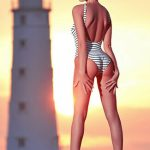 Izmir eskortlar girl Camilla is at the background of a lighthouse standing in the striped swimsuit